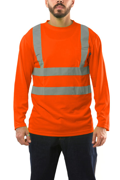 KS01 - Kolossus AirFlex ANSI Class 2 Compliant High Visibility Long Sleeve Safety Shirt - Orange