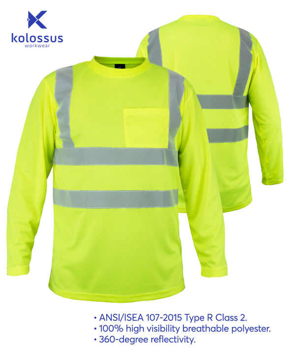 Kolossus 100% Polyester ANSI Class 2 Compliant High Visibility Long Sleeve Safety Shirt - Yellow