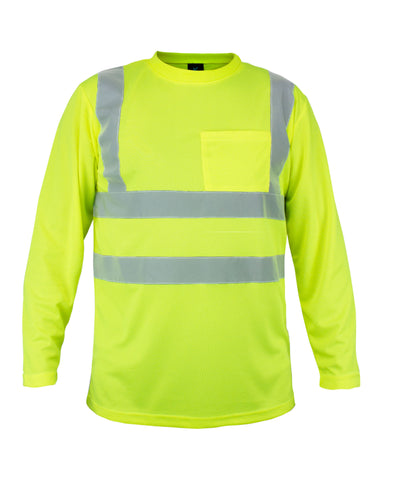 KS01 - Kolossus 100% Polyester ANSI Class 2 Compliant High Visibility Long Sleeve Safety Shirt - Yellow