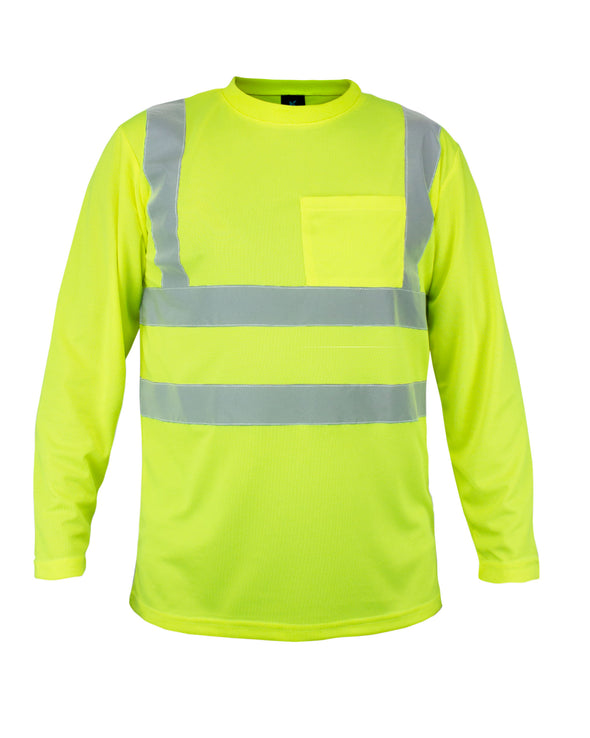 KS01 - Kolossus AirFlex ANSI Class 2 Compliant High Visibility Long Sleeve Safety Shirt - Yellow