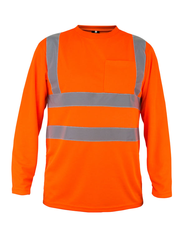 Kolossus 100% Polyester ANSI Class 2 Compliant High Visibility Long Sleeve Safety Shirt - Orange