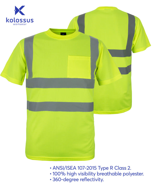 Kolossus 100% Polyester ANSI Class 2 Compliant High Visibility Short Sleeve Safety Shirt - Yellow