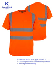Load image into Gallery viewer, Kolossus 100% Polyester ANSI Class 2 Compliant High Visibility Short Sleeve Safety Shirt - Orange