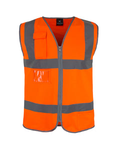 Kolossus Basic High Visibility Vest with Frontal Pocket and Zipper | ANSI II Compliant