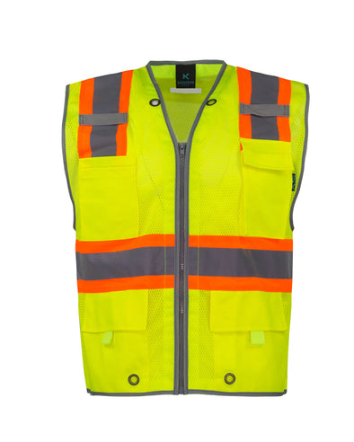 KV03 - Kolossus Pro Deluxe High Visibility Vest with Multi Frontal Pockets | ANSI Class 2 Compliant