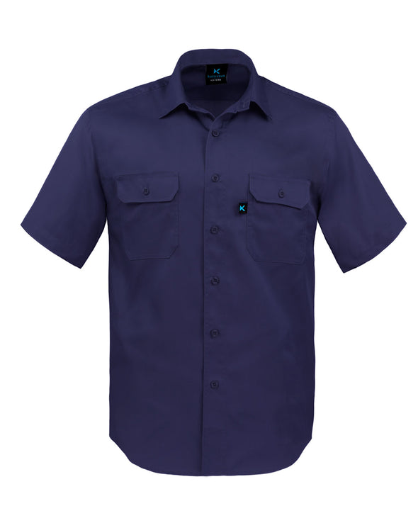 KS03 - Kolossus Men's Lightweight Cotton Blend Short Sleeve Work Shirt with Pockets