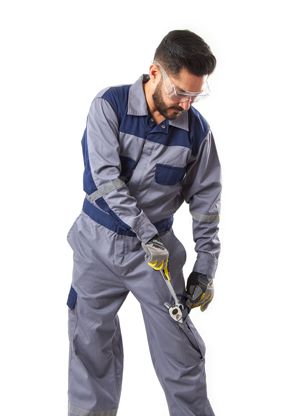 KC01 - Kolossus Deluxe Long Sleeve Cotton Blend Coverall with Oversized Pockets and Enhanced Visibility