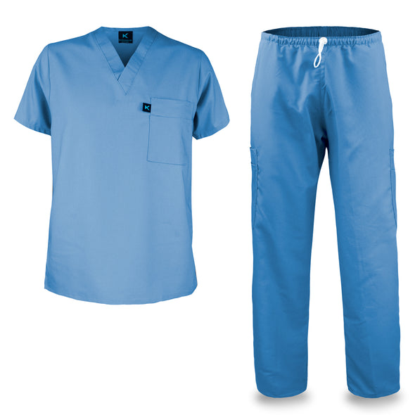 Kolossus mens medical scrub set light blue
