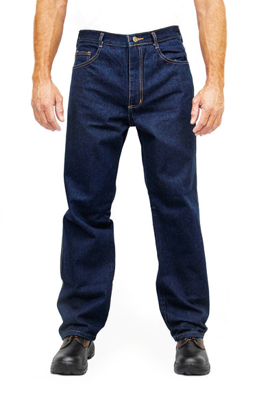 Kolossus Heavy Duty Relaxed Fit Straight Cut Five Pocket 100% Cotton Work Jeans with Triple Seams