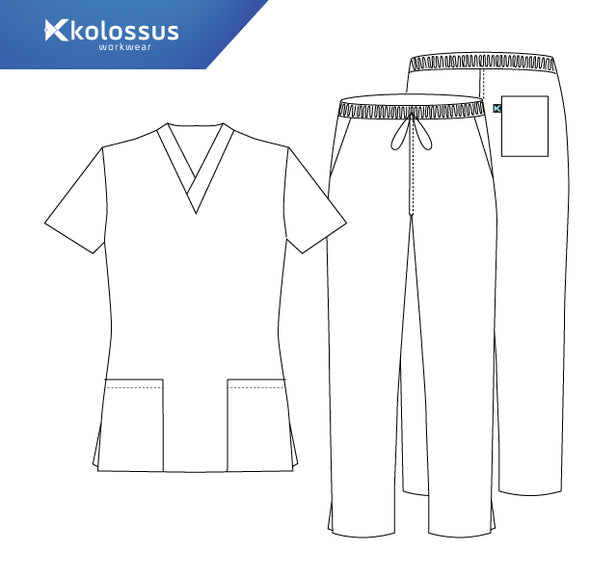 Kolossus Women's Super Stretch Medical Scrub Set