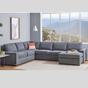 BRONSON 6 SEATER MODULAR LOUNGE SUITE WITH SOFA BED