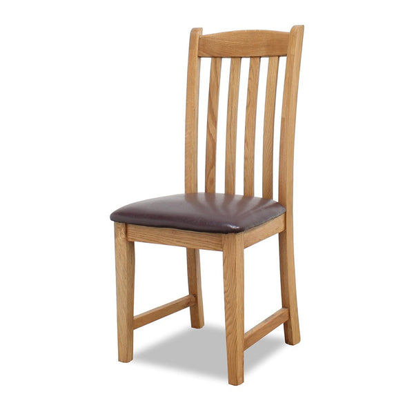 TUDOR OAK DINING CHAIR WITH PADDED PU SEAT