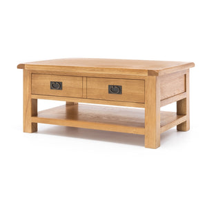 TUDOR OAK LARGE COFFEE TABLE WITH DRAWER