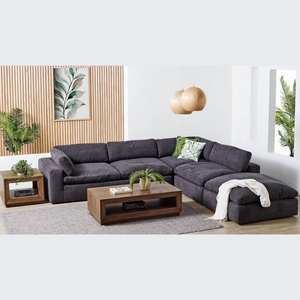 NALA 5 PIECE FABRIC MODULAR LOUNGE SUITE | CHARCOAL