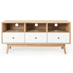 RADIUS OAK 3 DRAWER ENTERTAINMENT UNIT |  WHITE