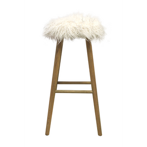 MATILDA BAR STOOL | WEATHERED OAK WITH FLEECY SEAT
