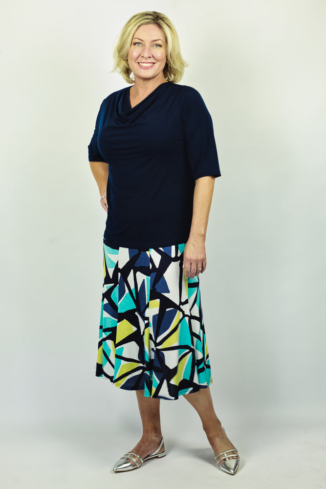 Load image into Gallery viewer, Vibrant Jersey Skirt - Navy