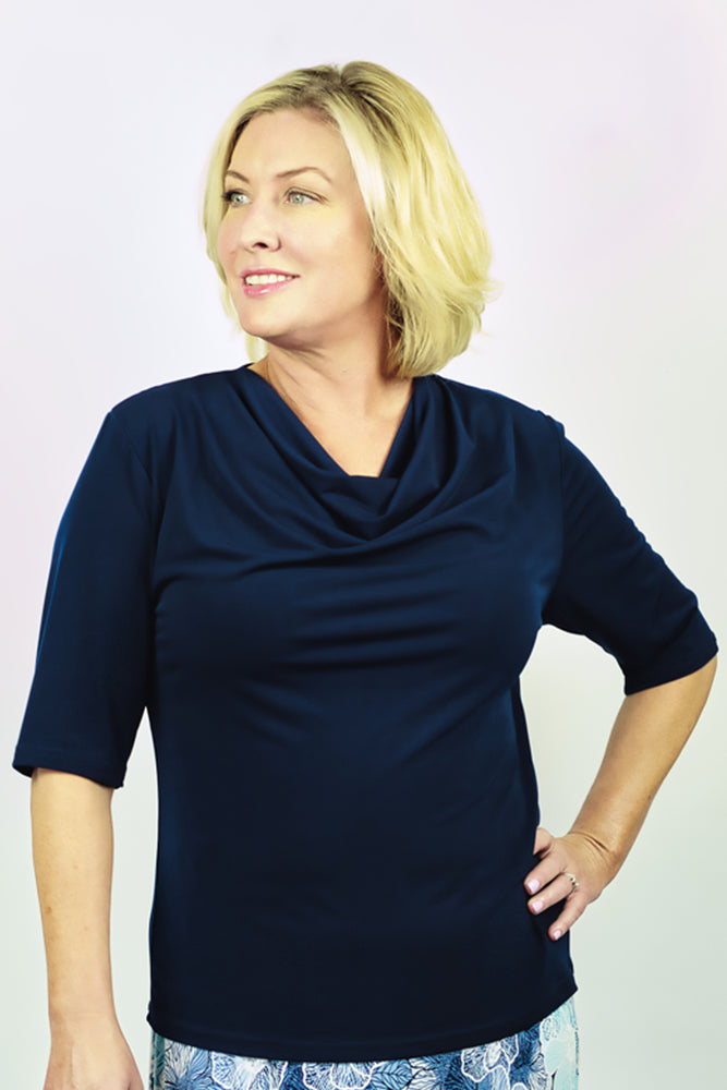 Load image into Gallery viewer, Cowl Neck Jersey Top - Navy