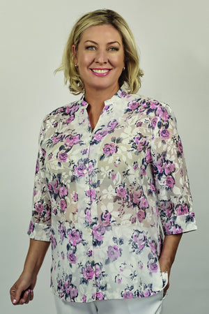 Load image into Gallery viewer, Jan Sheer Floral Shirt