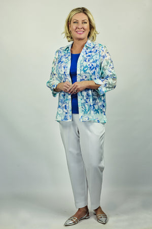 Sheer Floral Shirt - Blue & Teal
