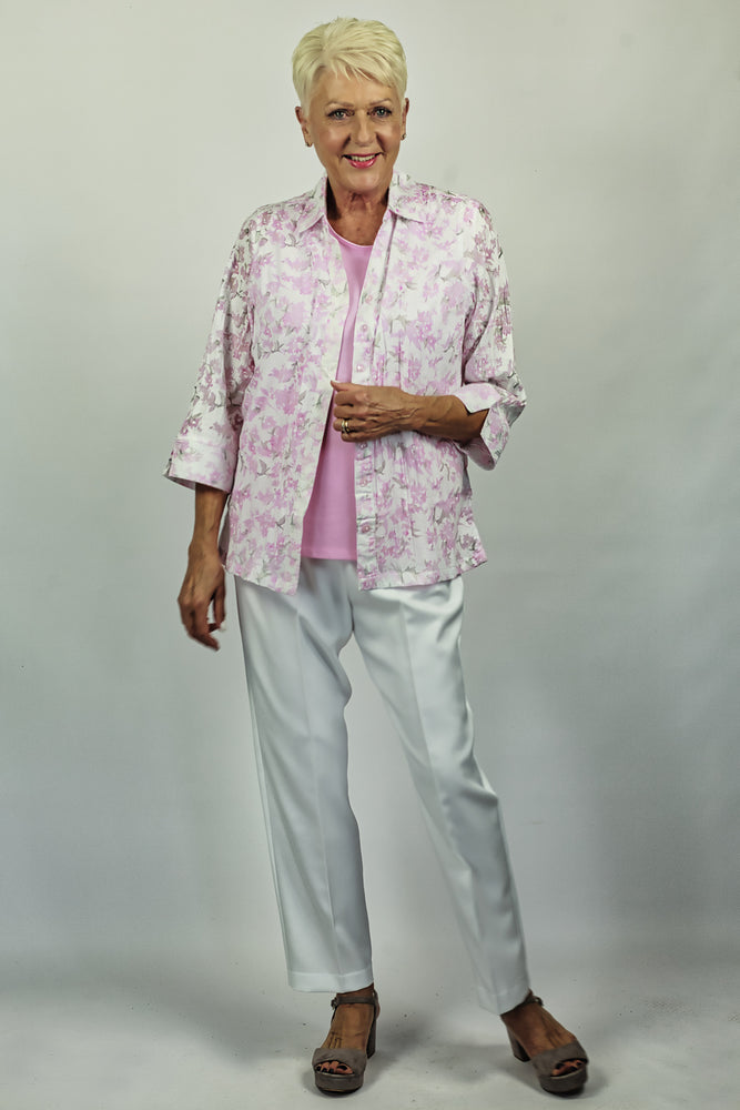 Floral Relaxed Look Shirt - Pink