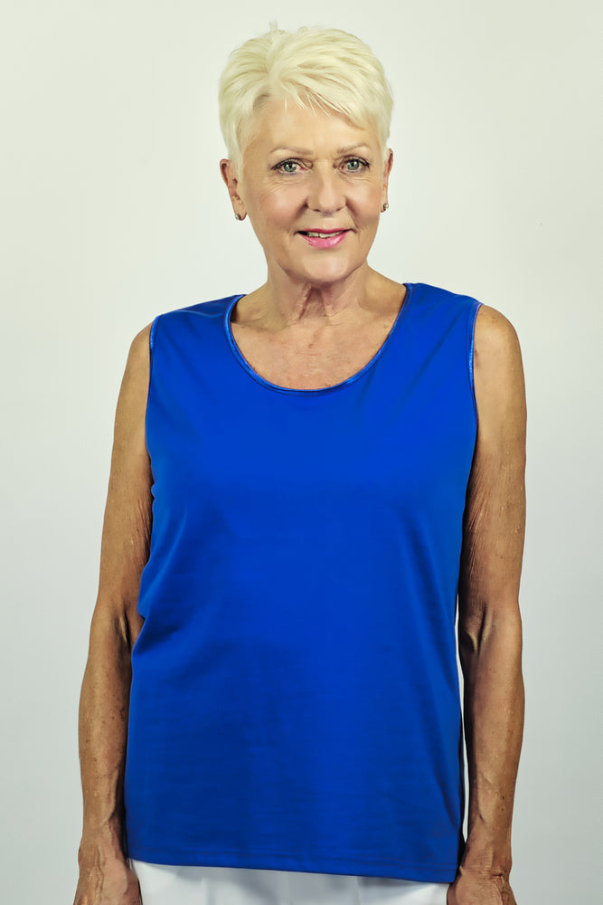 Load image into Gallery viewer, Satin Trim Camisole - Cobalt