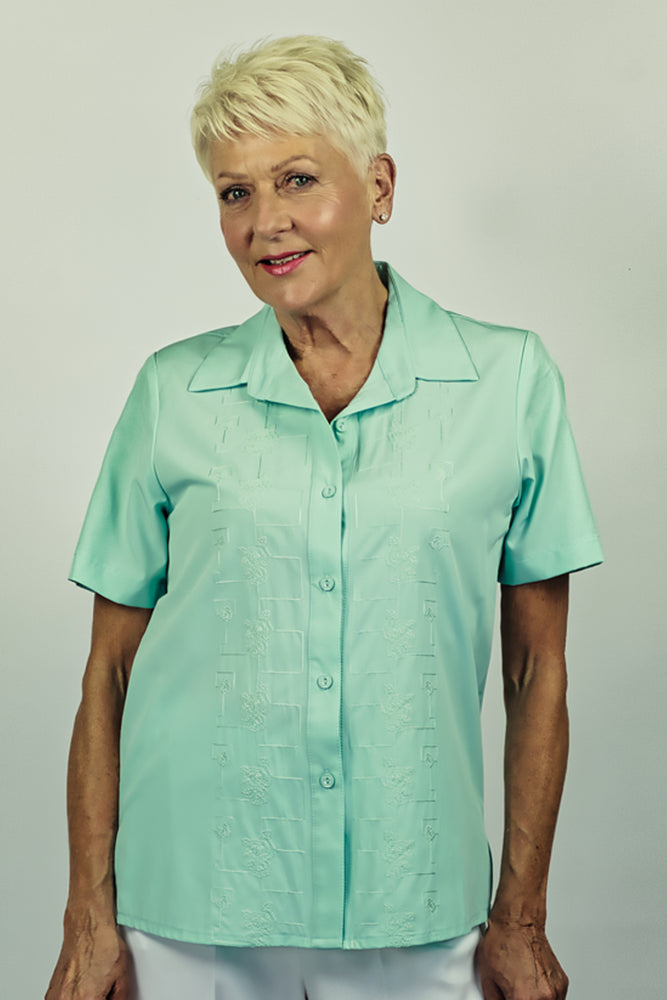 Embroidered Mint Short Sleeve Shirt