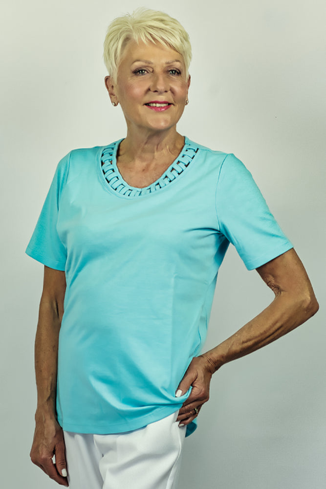 Cyan Top with Neckline Detail