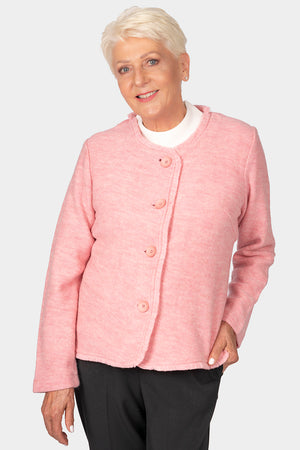 Load image into Gallery viewer, Fray Trim Wool Jacket - Pink