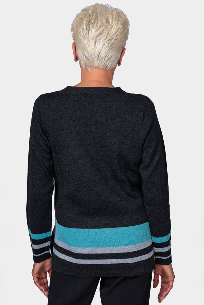 Load image into Gallery viewer, Crew Neck Block Jumper Charcoal