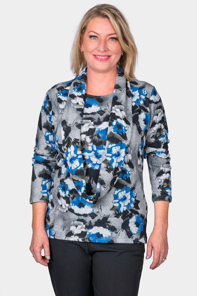 Top with Removable Snood - Floral Design
