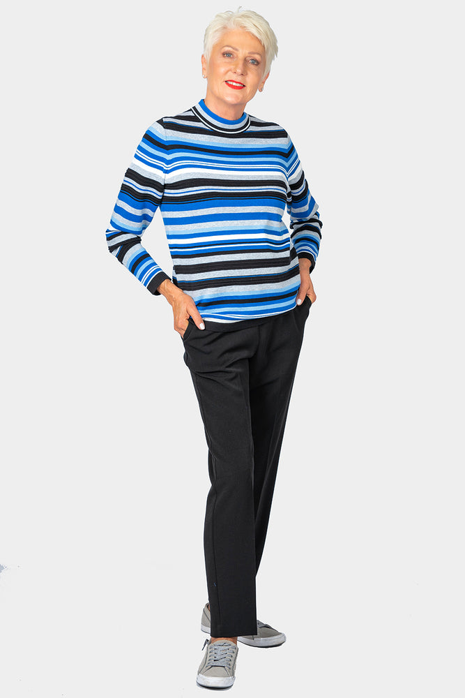 Azure Striped Mock Turtle Neck Top