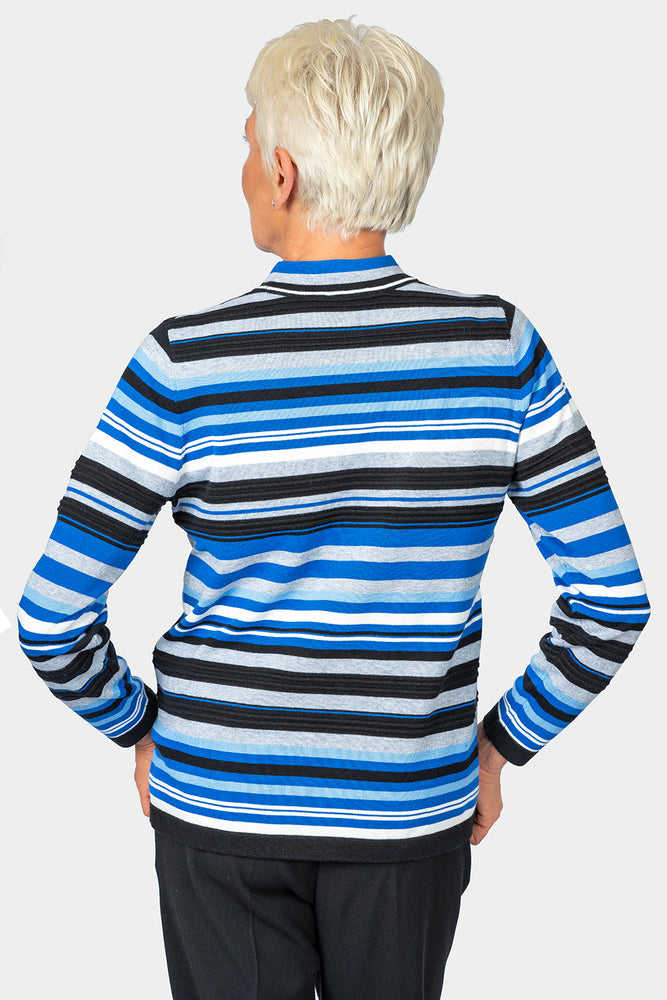 Load image into Gallery viewer, Azure Striped Mock Turtle Neck Top