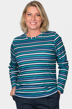 Striped Crew Neck Top - Green