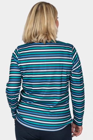 Load image into Gallery viewer, Striped Crew Neck Top - Green