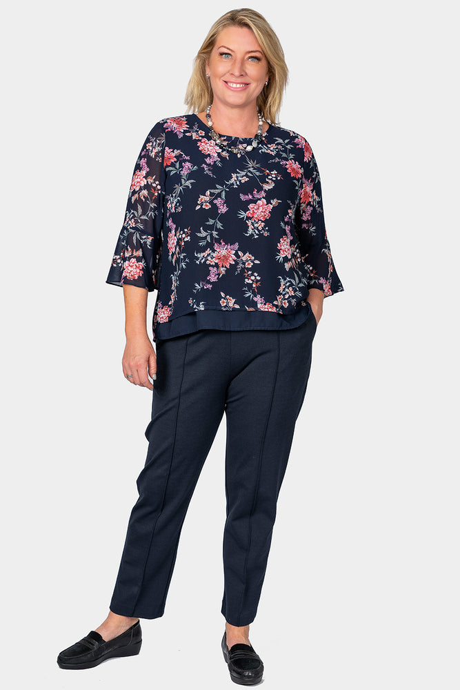 Load image into Gallery viewer, Romantic Sleeve Top - Navy