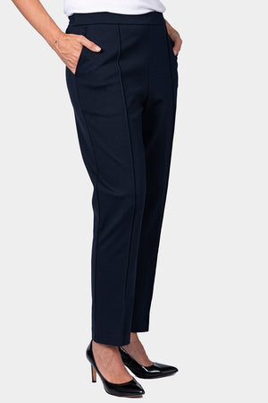 Navy Ponte Pant with Front Leg Seam - LONGER LEG