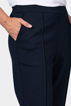 Load image into Gallery viewer, Navy Ponte Pant with Front Leg Seam - LONGER LEG
