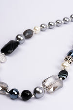 Necklace Short Grey & Silver Beads