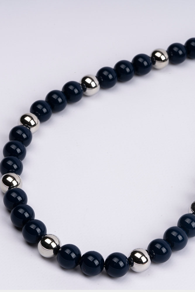 Necklace Short Black & Silver Beads