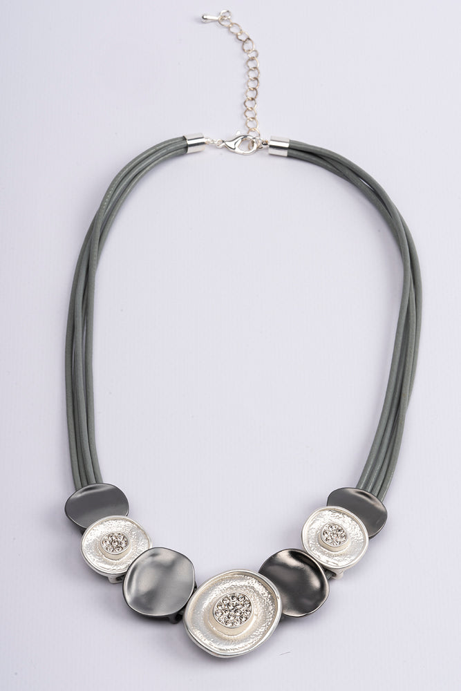 Necklace Short 2 Tone Charcoal & Silver