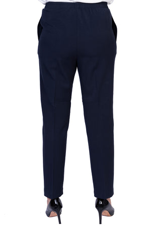 Load image into Gallery viewer, Navy Petite Fit Pants - LONGER LEG
