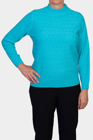 Soft Touch Cable Knit Jumper - Aqua