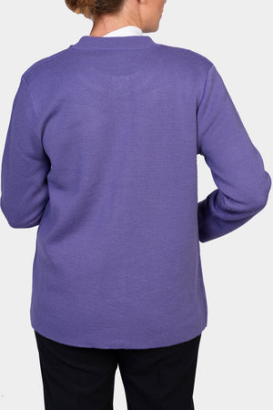 Load image into Gallery viewer, Crew Neck Cardigan - Lilac