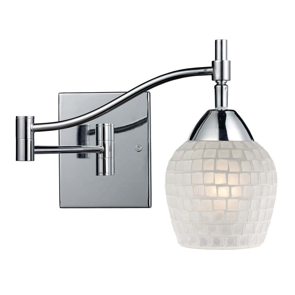 ELK Celina 1 Light Swingarm Sconce in Polished Chrome and White 10151/1PC-WHT