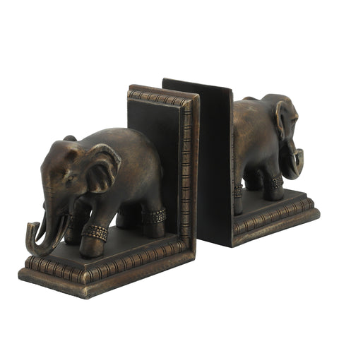 Sagebrook Home Set Of 2 Polished Elephant Bookends 11597