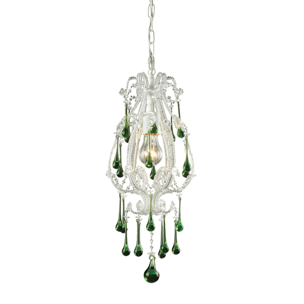 ELK Opulence 1 Light Pendant in Antique White and Lime Crystal 12003/1LM