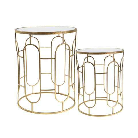 Sagebrook Home Set Of 2 Mirrored Round Accent Tables 14052-01