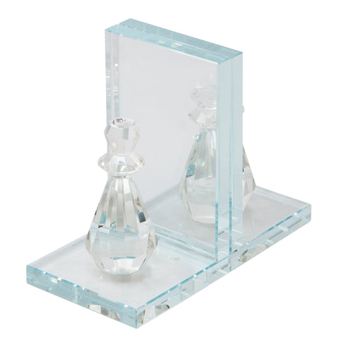 Sagebrook Home Set Of 2 Crystal Chess Piece Bookends 14462-02
