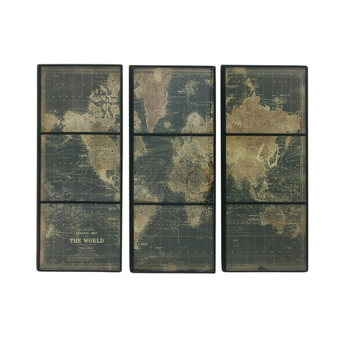 Zimlay Eclectic Rectangular Wooden World Map Set Of 3 Wall Panels 14848